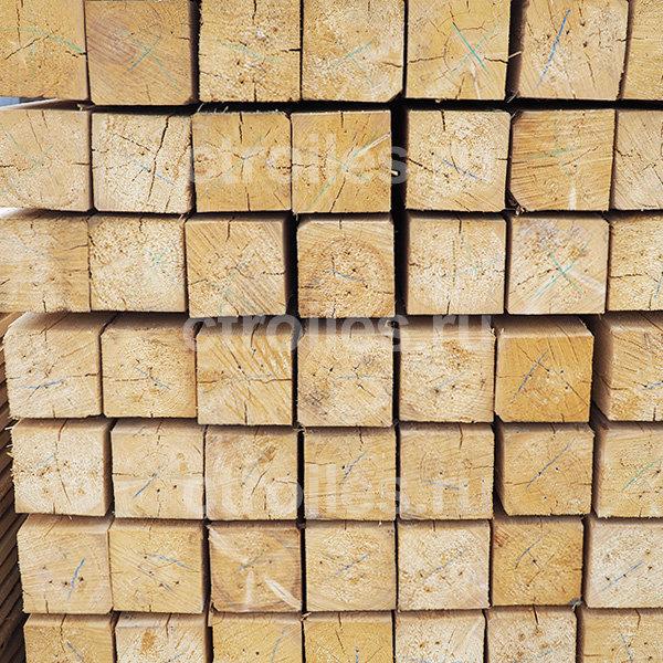 Брус обрезной 100x100x6000 мм, сорт 1, сосна/ель